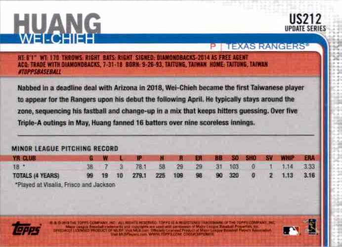 2019 Topps Update Wei-Chieh Huang RC #US212 card back image