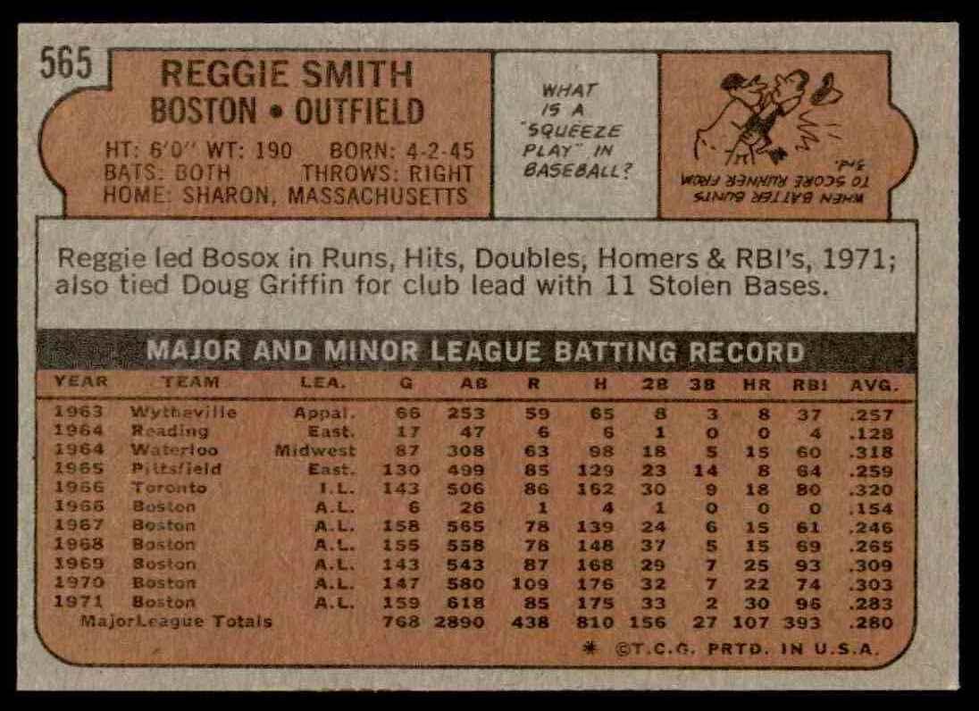 1972 Topps Reggie Smith #565 card back image