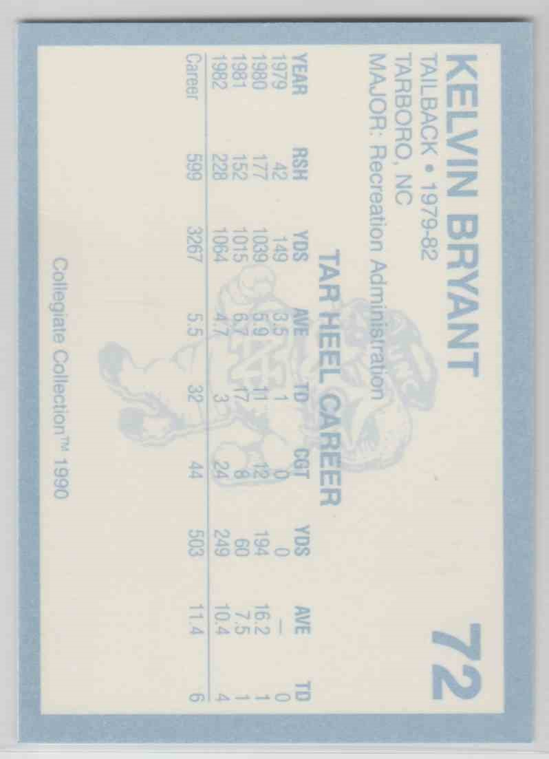 1990 Collegiate Collection No.72 North Carolina Autograph Warehouse Kelvin Bryant Football Card