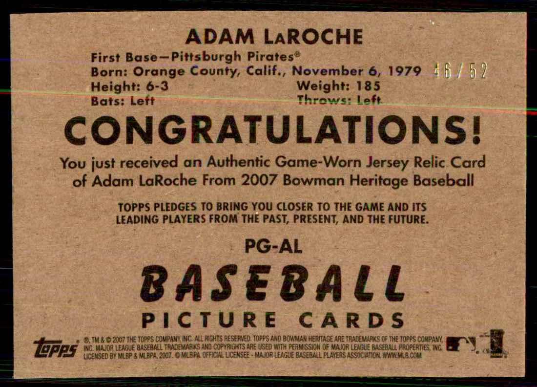 2007 Bowman Heritage Pieces Of Greatness Black Adam LaRoche Jsy #AL card back image