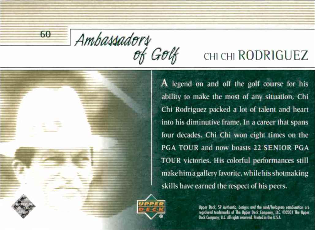 2001 SP Authentic Preview Chi Rodriguez Ag #60 card back image