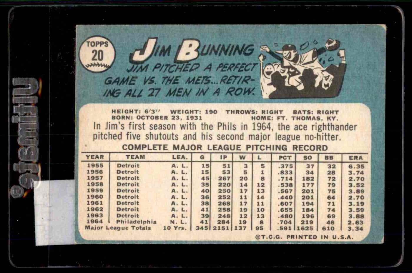 1965 Topps Jim Bunning #20 card back image