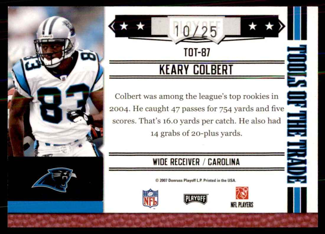 2007 Absolute Memorabilia Tools Of The Trade Red Spectrum Keary Colbert #87 card back image