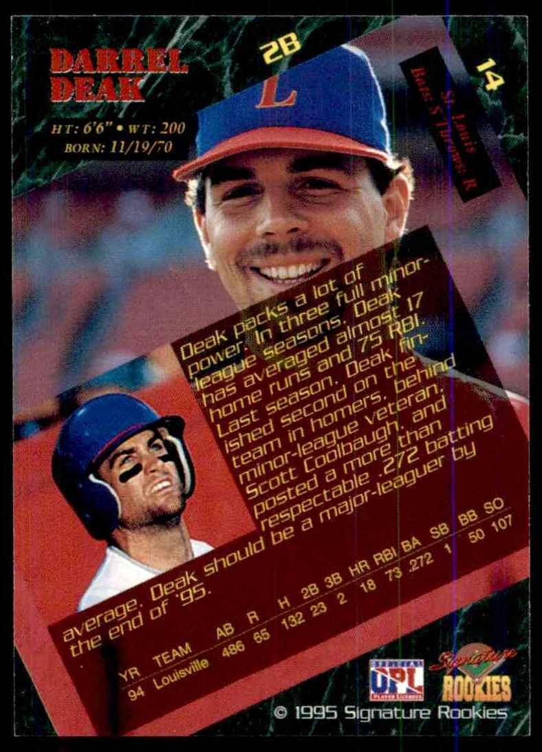 1995 Signature Rookies Darrell Deak #14 card back image