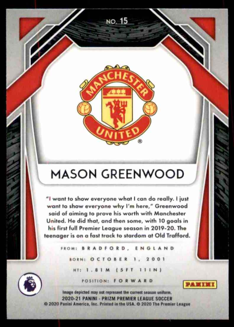 2020 Panini Prizm English Premier League Mason Greenwood #15 card back image