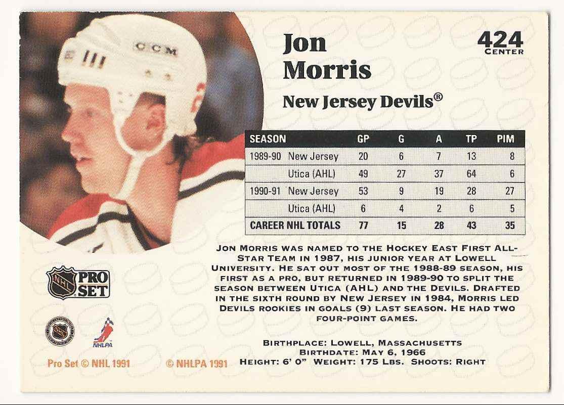 1991-92 Pro Set Jon Morris #424 card back image