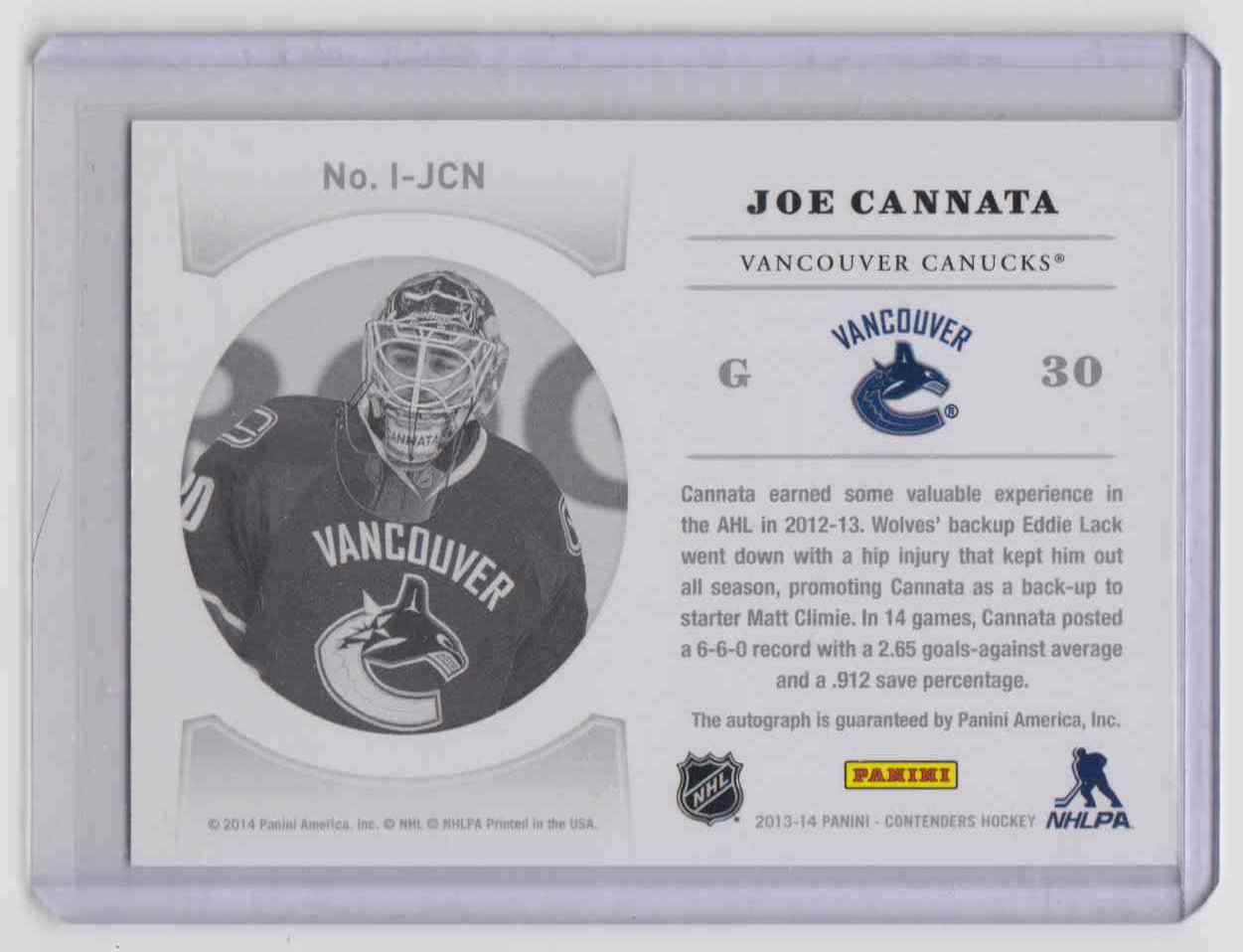 2013-14 Panini Contenders NHL Ink ! Joe Cannata #I-JCN card back image