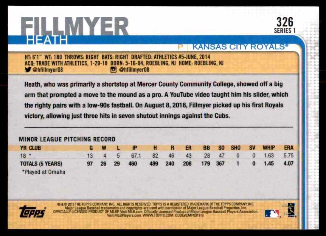 2019 Topps Heath Fillmyer #326 card back image