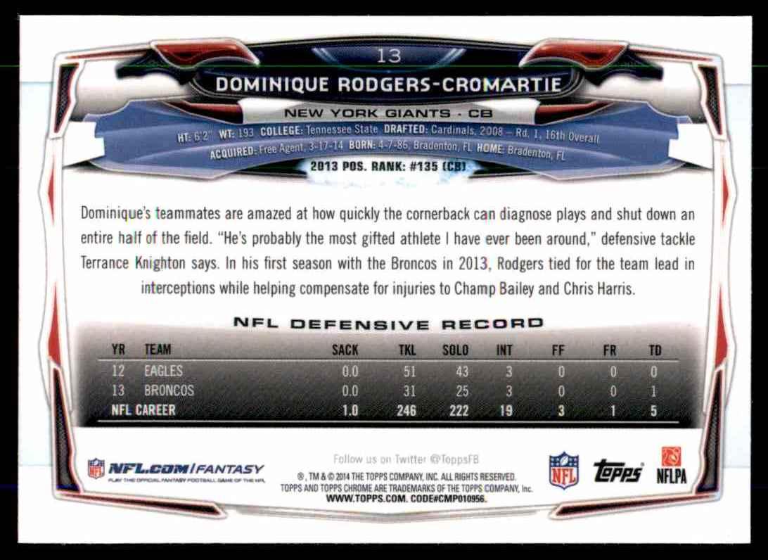 2014 Topps Chrome Purple Refractors Dominique Rodgers-Cromartie #13 card back image