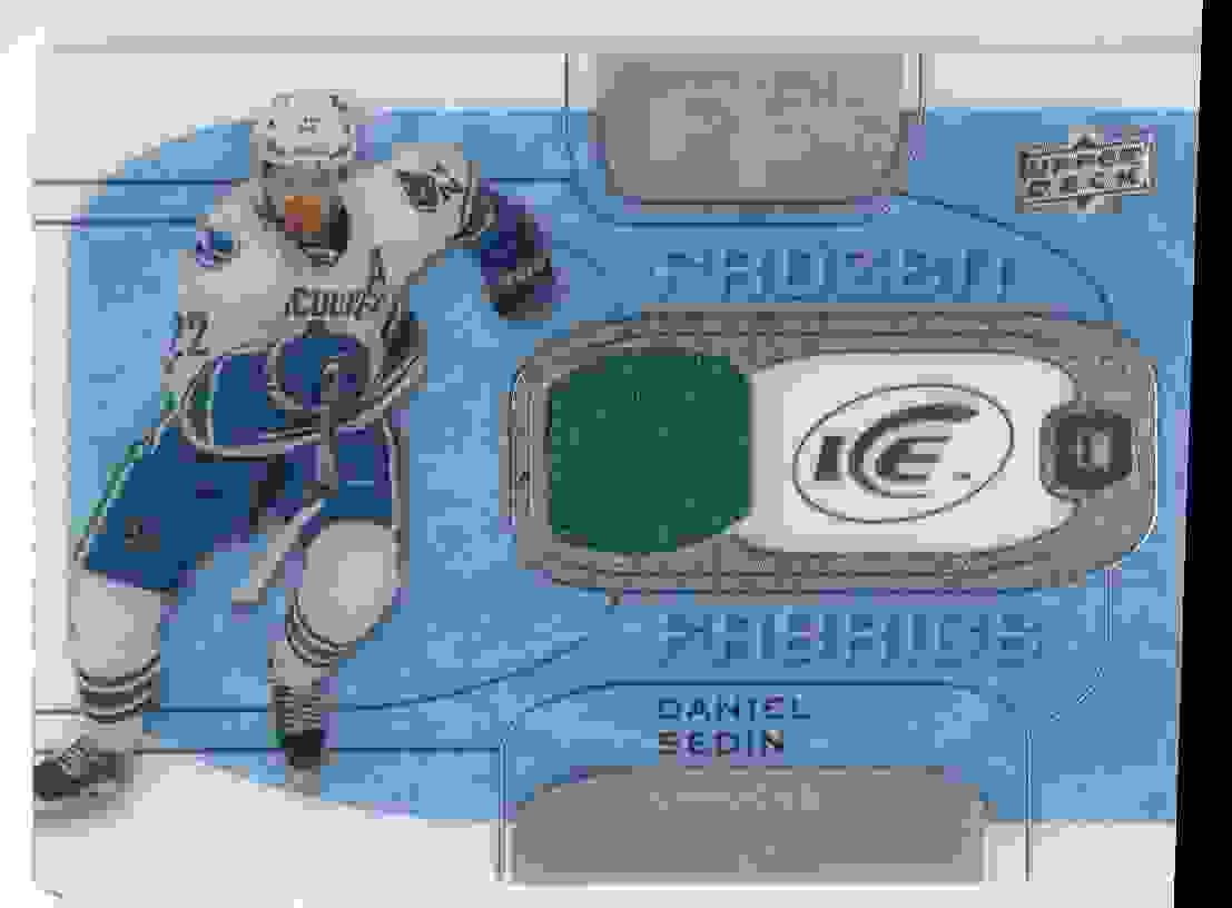 2015-16 Upper Deck Ice Frozen Fabrics Daniel Sedin #FF-DS card front image