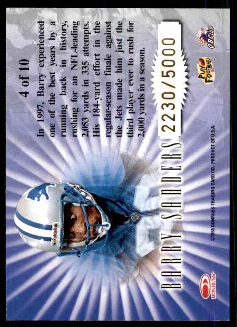 1998 Leaf Rookies & Stars Standing Ovation Barry Sanders #4 card back image