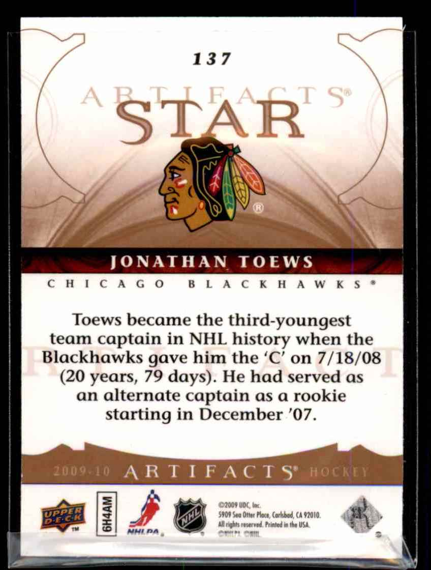2009-10 Upper Deck Artifacts Jonathan Toews S #137 card back image