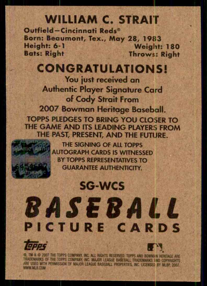 2007 Bowman Heritage Signs Of Greatness Cody Strait G #WCS card back image