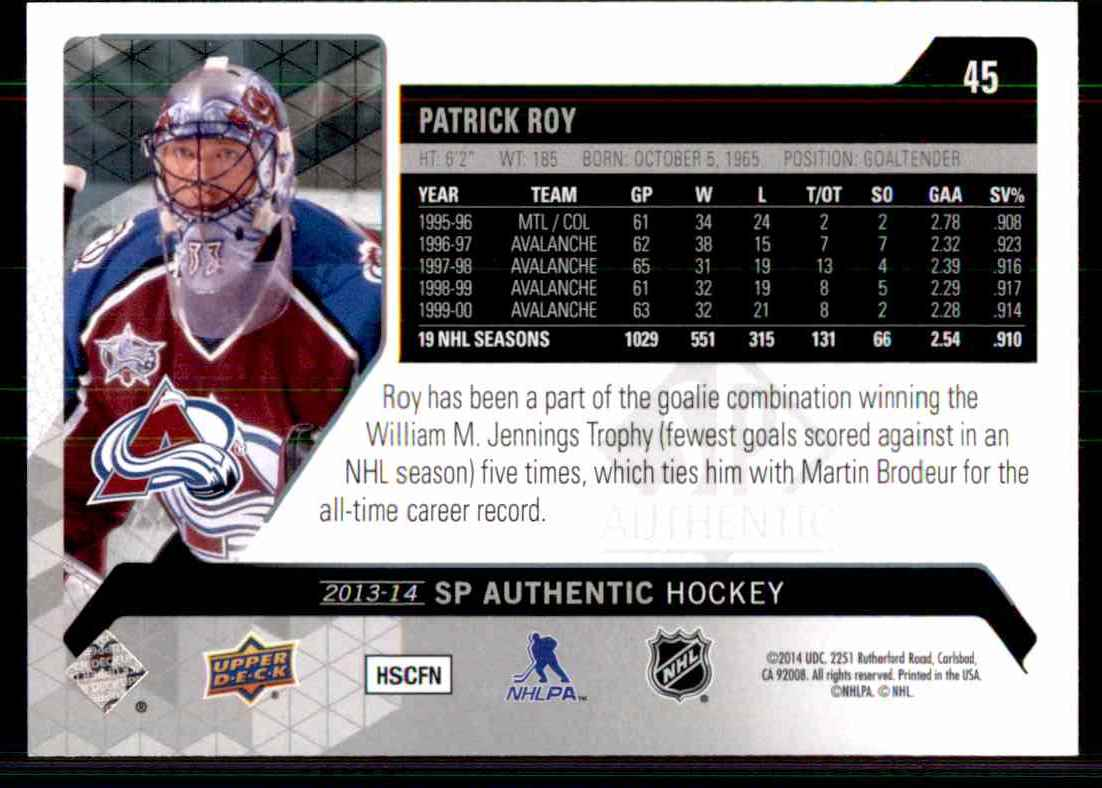 2013-14 SP Authentic Patrick Roy #45 card back image