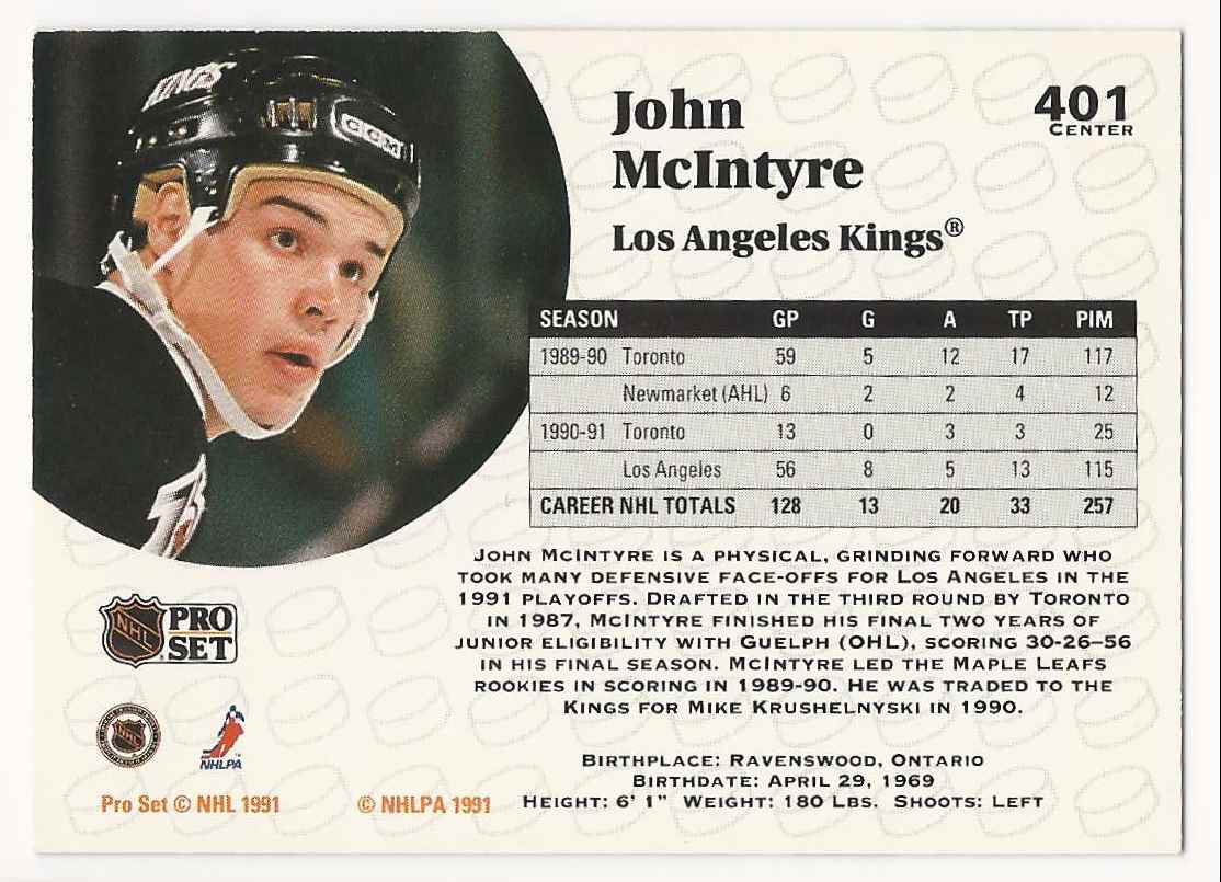 1991-92 Pro Set John McIntyre #401 card back image