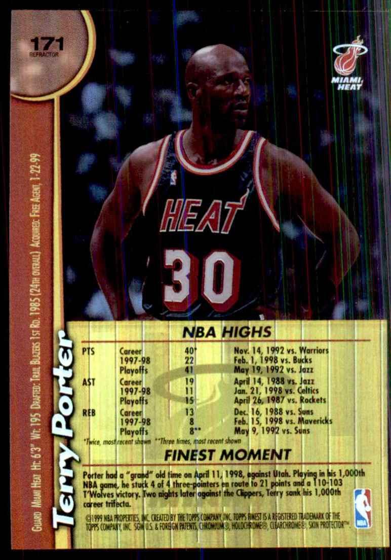 1998-99 Finest No Protectors Refractors Terry Porter #171 card back image