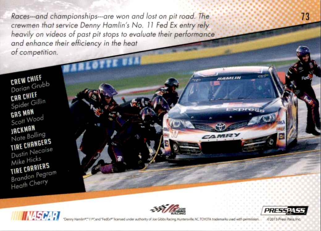 2014 Press Pass Denny Hamlin's Car Gc #73 card back image