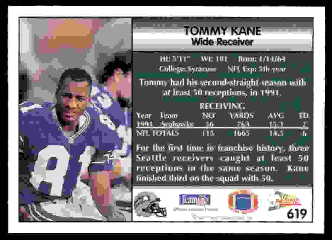 1992 Pacific Football Tommy Kane 619 On Kronozio