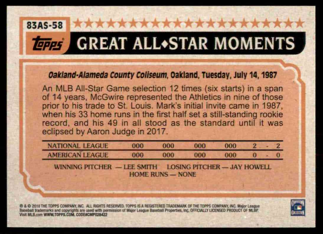2018 Topps Series 2 1983 All-Star Insert Mark McGwire #58 card back image