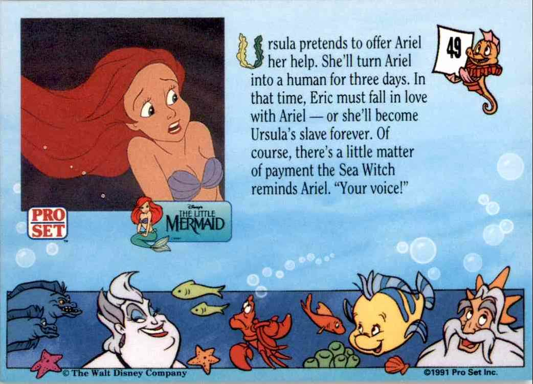 1991 Little Mermaid Ursual Pretends To Offer Ariel Help #49 card back image