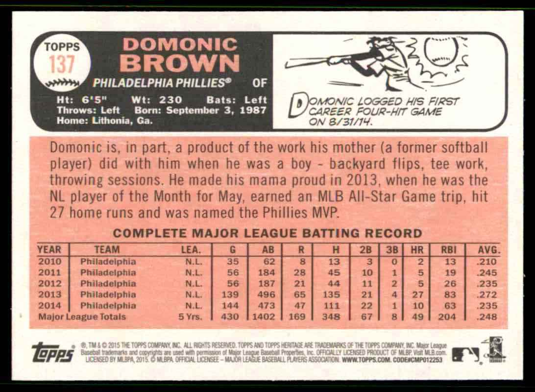 2015 Topps Heritage Domonic Brown #137 card back image