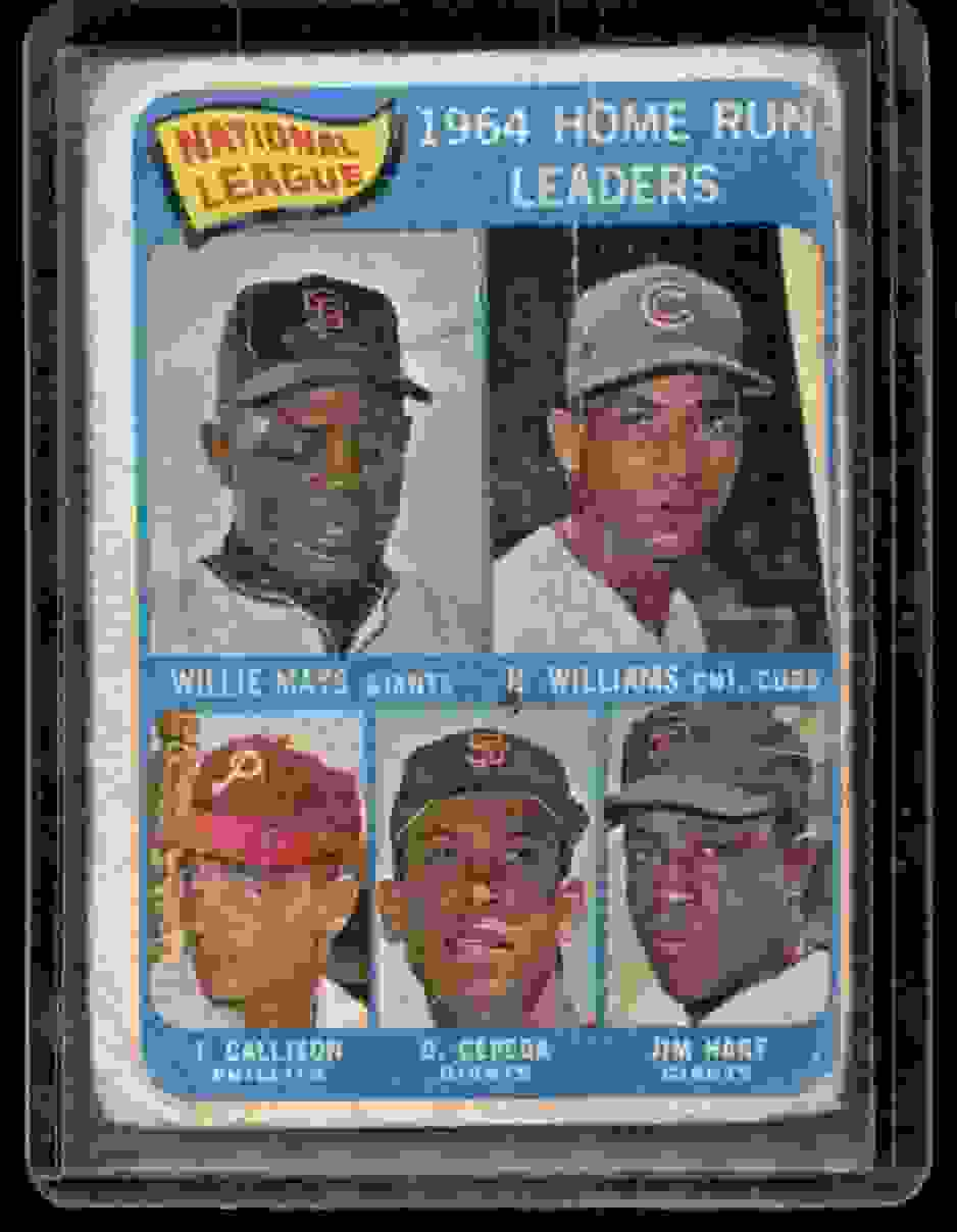 1965 Topps Nl Home Run Leaders/Willie Mays/Billy Williams/Jim Ray Hart/Orlando Cepeda/Johnny Callison #4 card front image