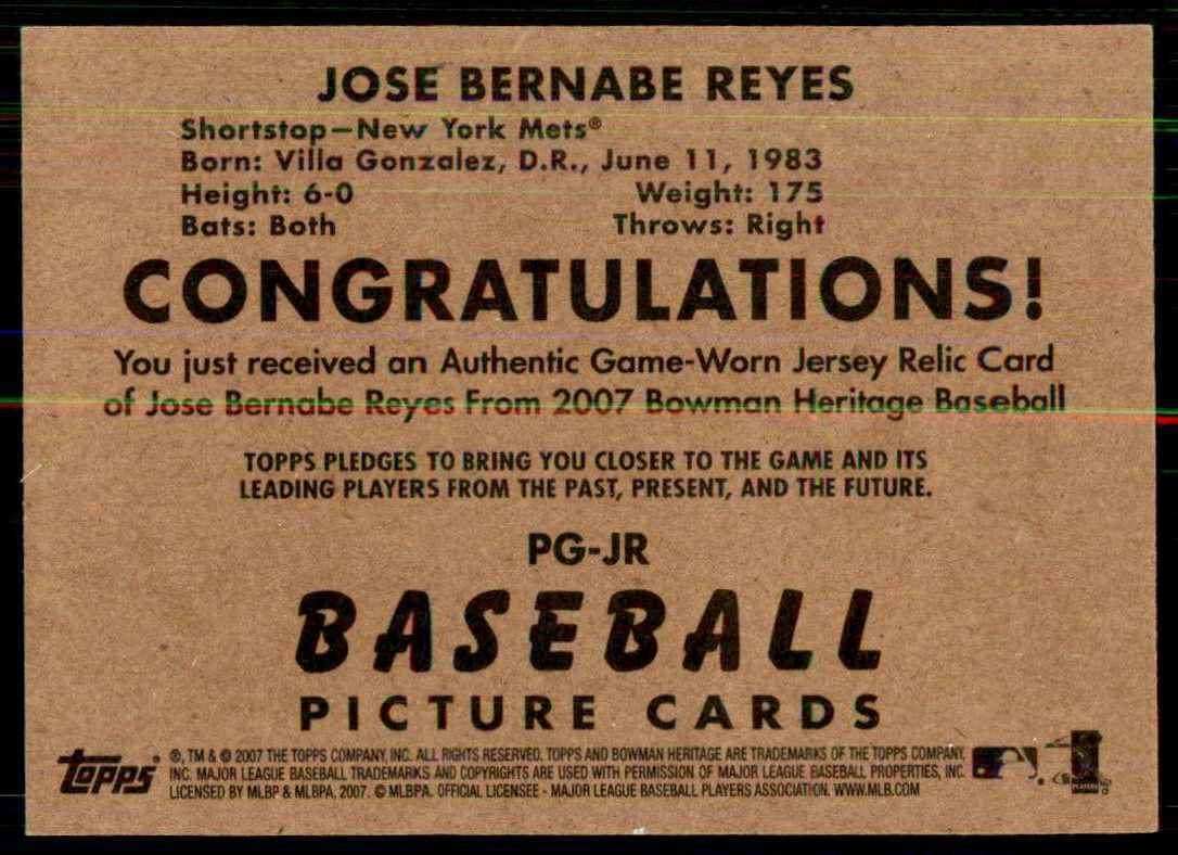 2007 Bowman Heritage Pieces Of Greatness Jose Reyes Jsy B #JR card back image