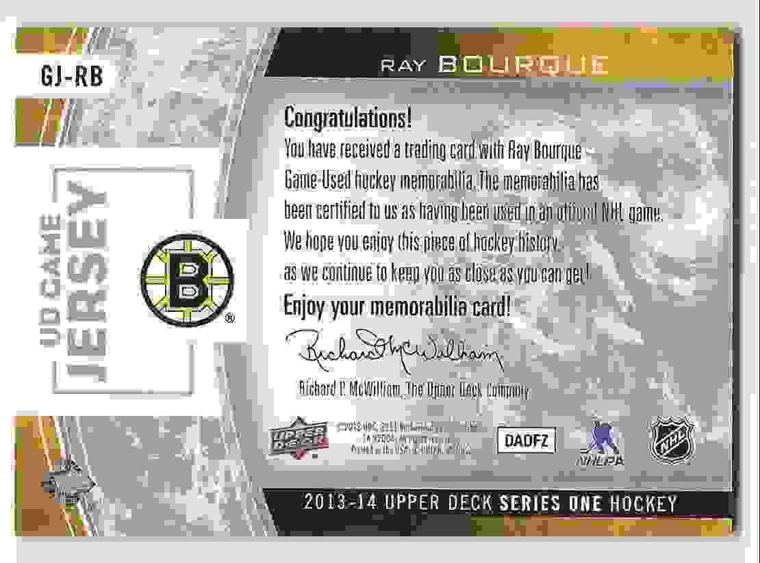 2013-14 Upper Deck Game Jerseys Ray Bourque #GJ-RB card back image