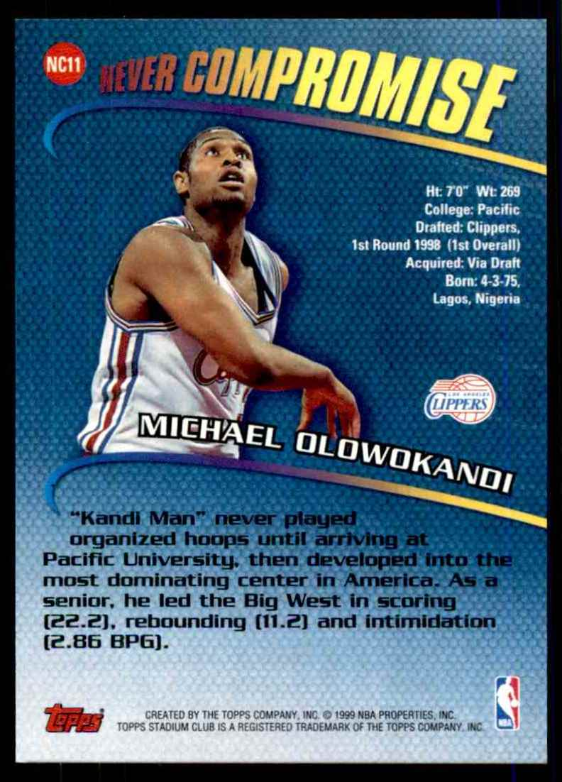 1998-99 Stadium Club Never Compromise Michael Olowokandi #NC11 card back image