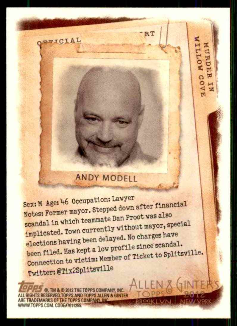 2012 Topps Allen & Ginter Murder In Willow Cove Code Cards Andy Modell #1 card back image