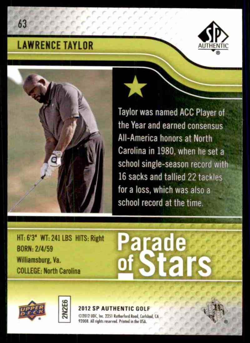 2012 SP Authentic Lawrence Taylor Ps #63 card back image