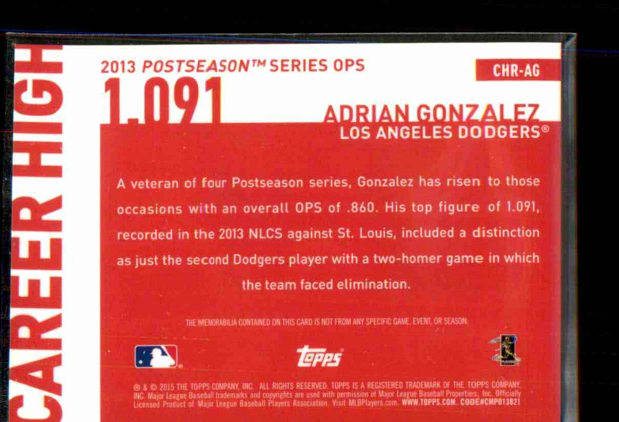 2015 Topps Career High Relics Adrian Gonzalez S2 #CHRAG card back image