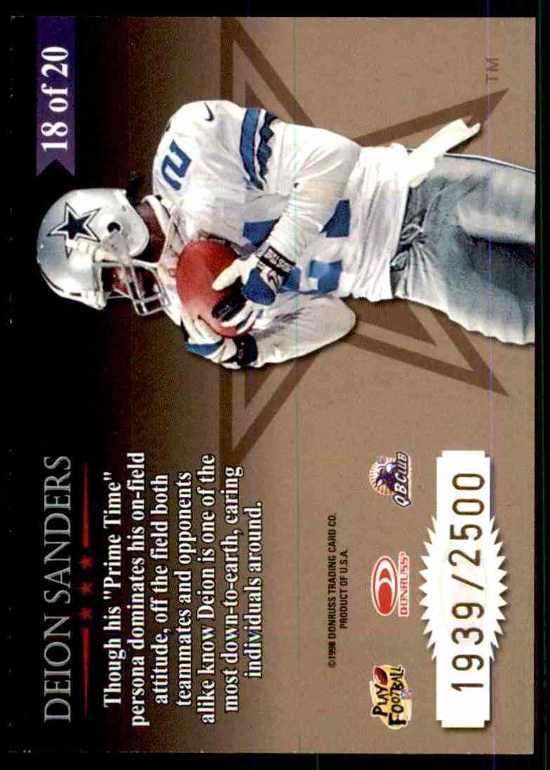 1998 Leaf Rookies & Stars Great American Heroes Deion Sanders #18 card back image