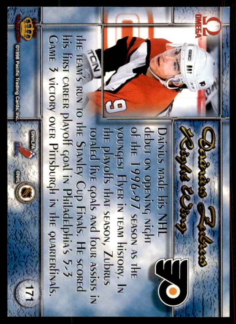1997-98 Pacific Omega Gold Dainius Zubrus #171 card back image