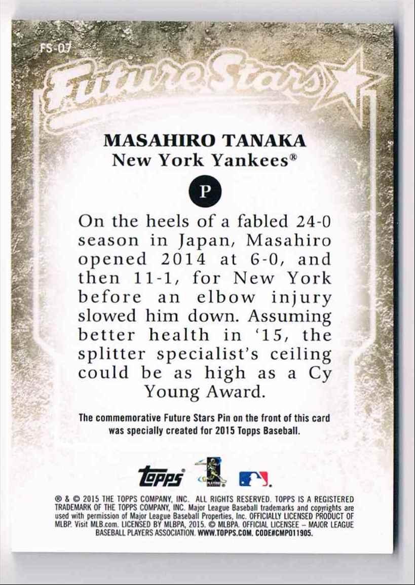 2015 Topps Medallion Future Stars Masahiro Tanaka #FS-07 card back image