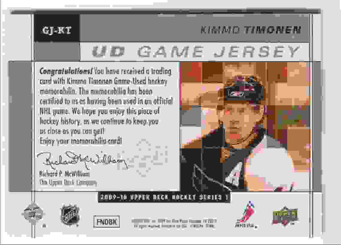 2009-10 Upper Deck Game Jersey Kimmo Timonen #GJ-KT card back image