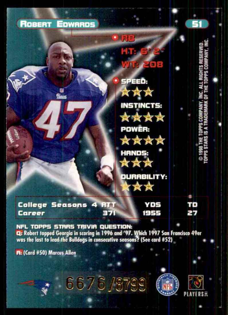 1998 Topps Stars Robert Edwards RC #51 card back image
