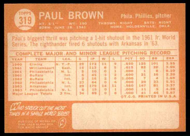 1964 Topps EX-Mt Paul Brown #319 card back image