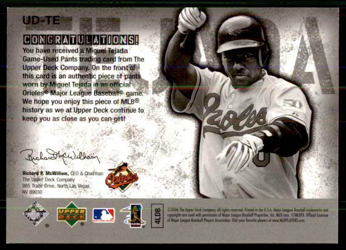 2006 Upper Deck UD Game Materials Miguel Tejada Pants S1 #TE card back image