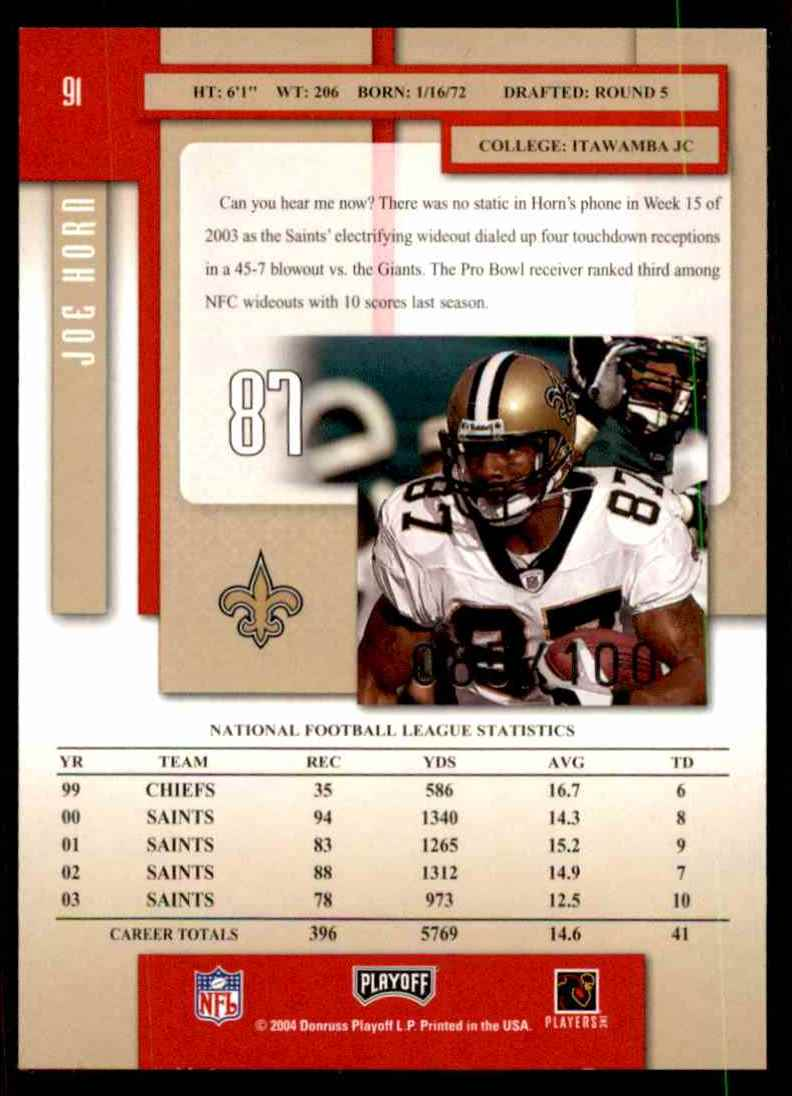 2004 Playoff Prestige Xtra Points Red Joe Horn #91 card back image