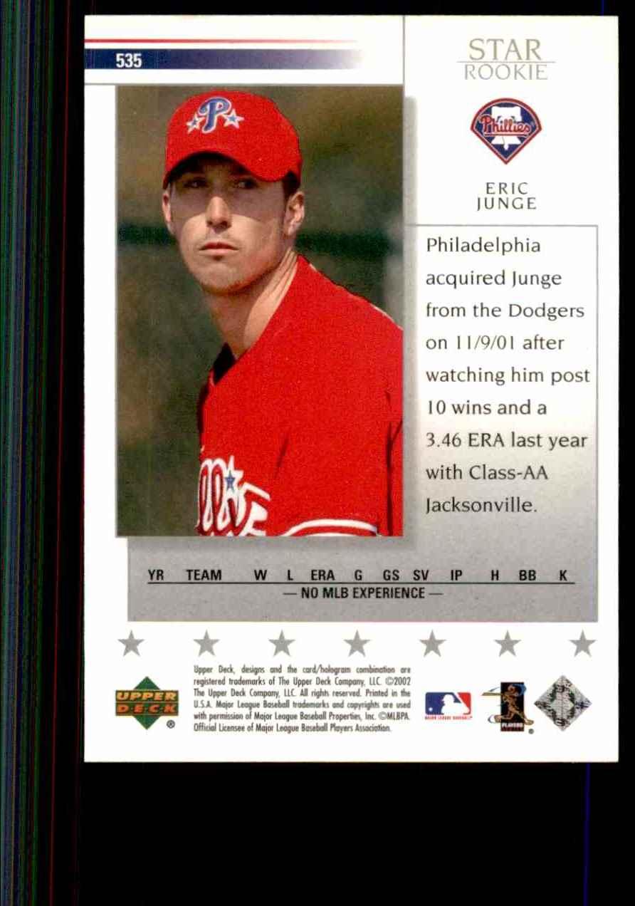 2002 Upper Deck Eric Junge Sr RC #535 card back image
