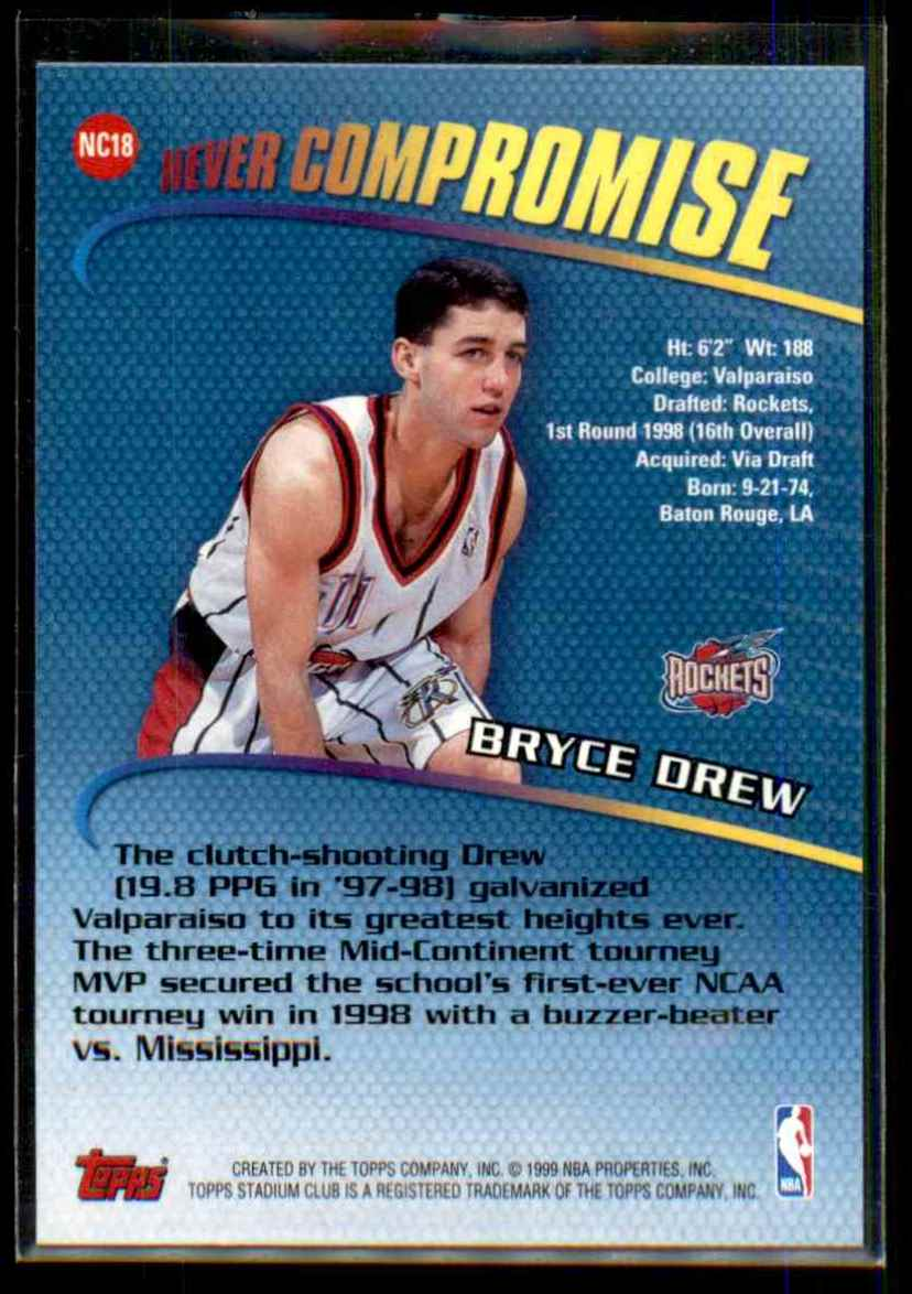 1998-99 Stadium Club Never Compromise Bryce Drew #NC18 card back image