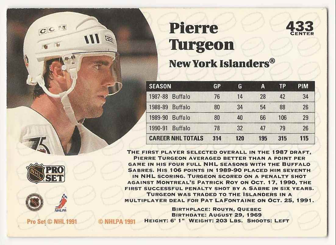 1991-92 Pro Set Pierre Turgeon #433 card back image