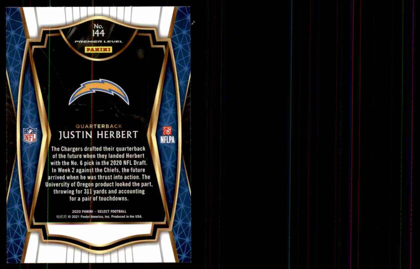 2020 Select Justin Herbert #144 card back image
