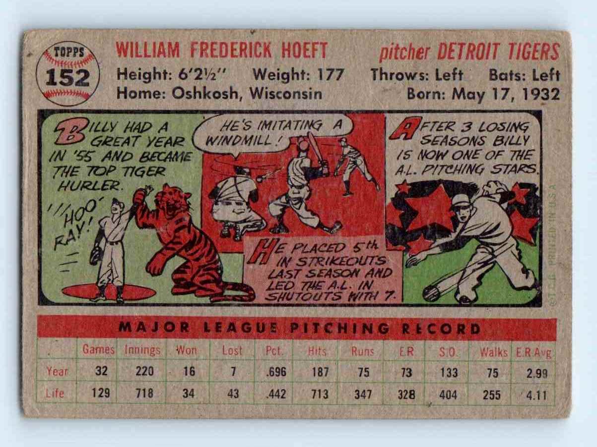 1956 Topps Billy Hoeft #152 card back image