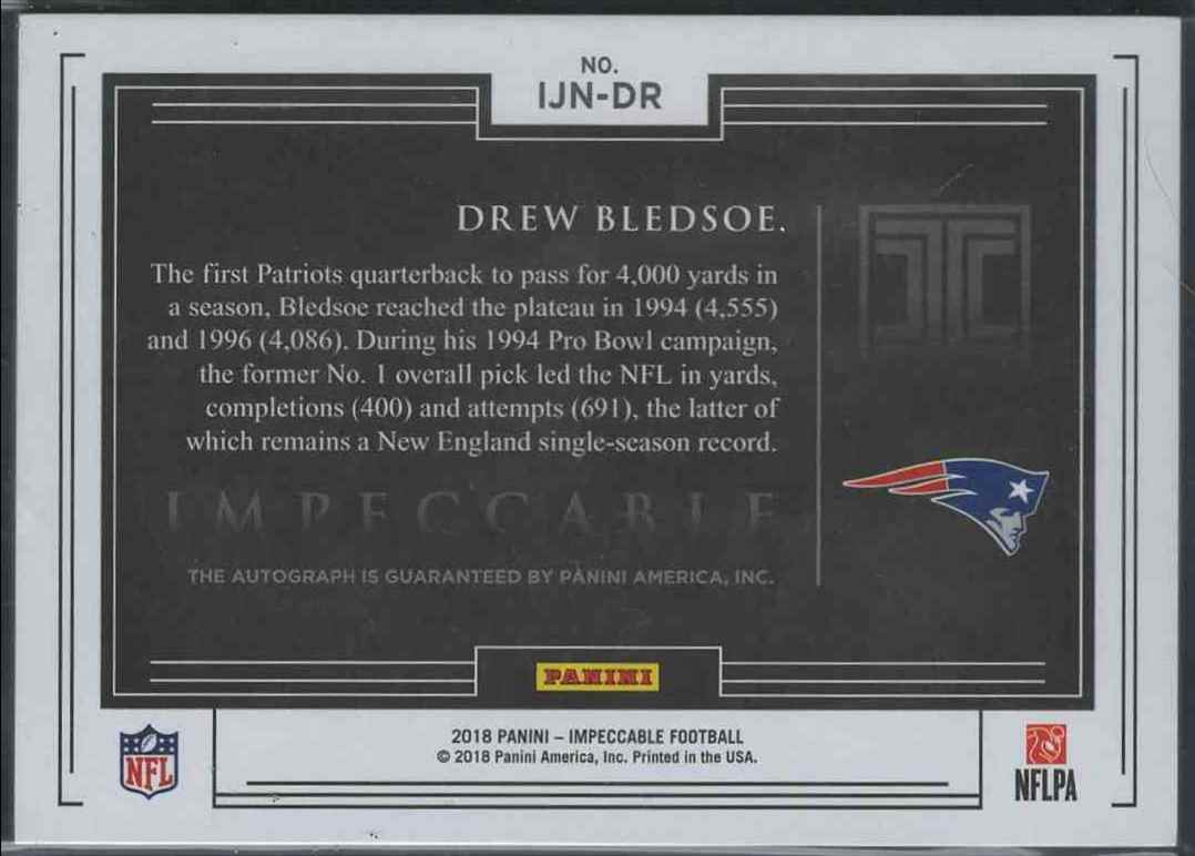 2018 Panini Impeccable Drew Bledsoe #IJN_DR card back image