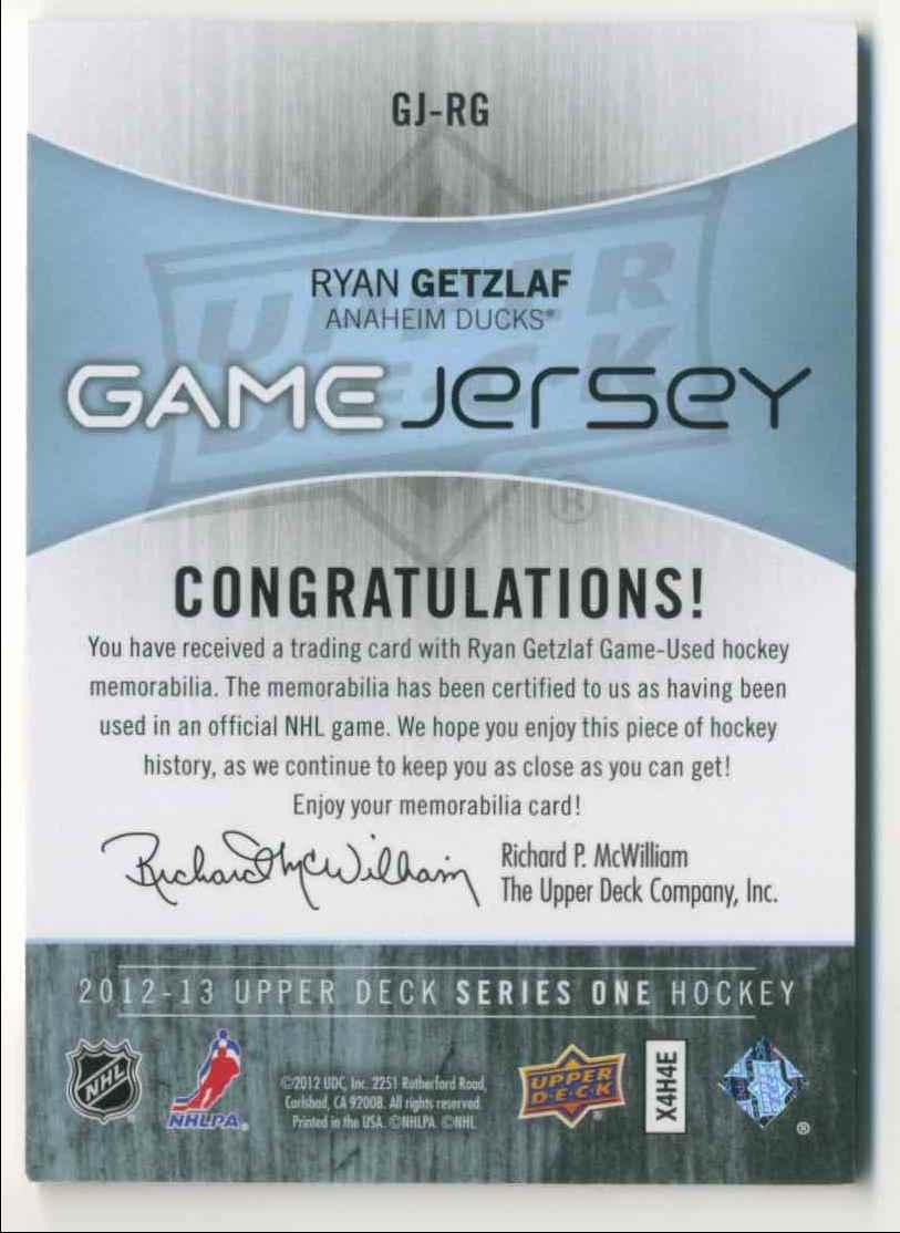 2010-11 Upper Deck Game Jersey Ryan Getzlaf #GJ-RG card back image