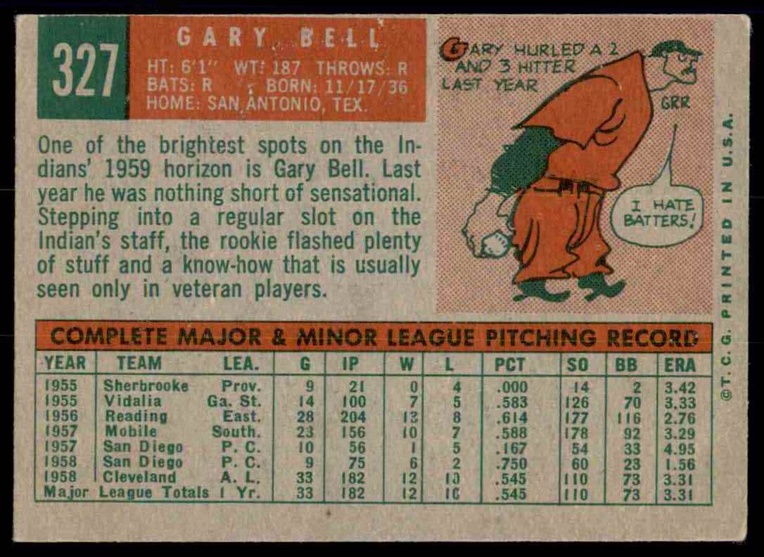 1959 Topps Gary Bell RC #327 card back image