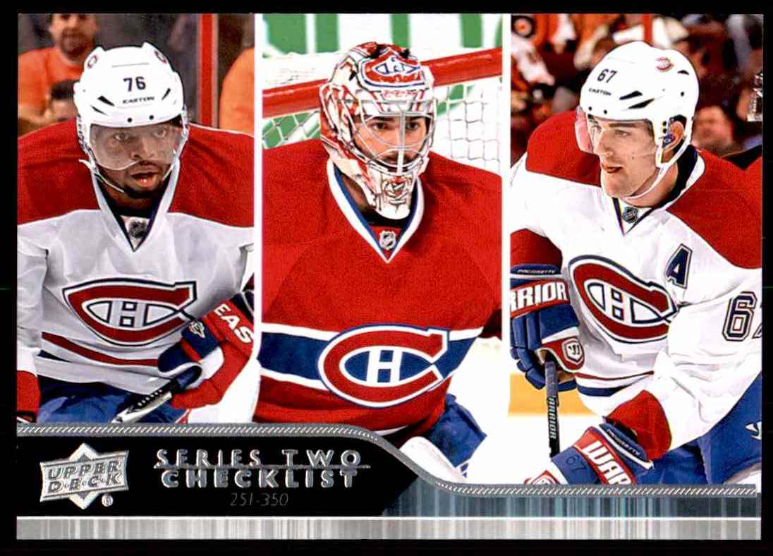 2014-15 Upper Deck Series 2 Carey Price P.K. Subban Max Pacioretty Checklist #449 card front image
