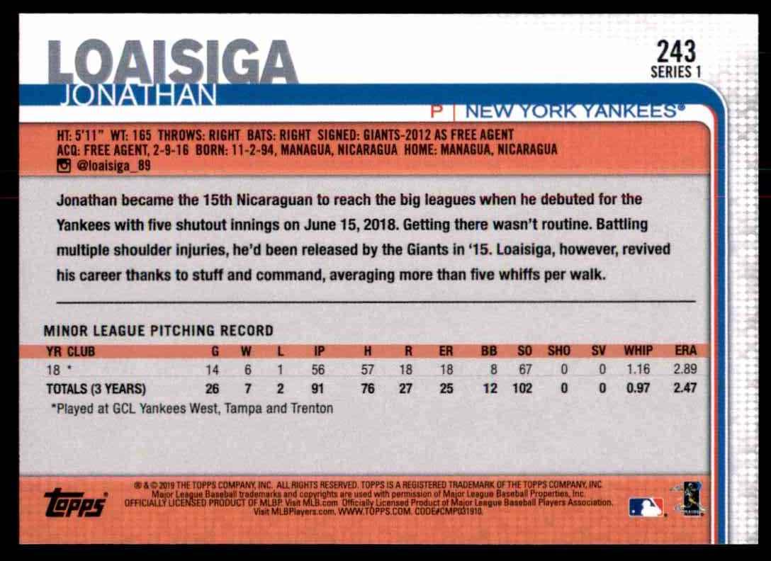 2019 Topps Jonathan Loaisiga #243 card back image